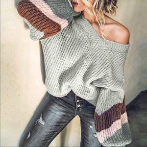NWT Gray Oversized V Neck Knit Long Sleeve Sweater